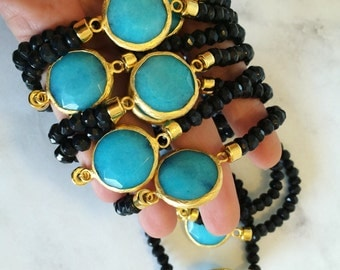 Ocean Blue agate stretch bracelet- Agate in gold belle with black jade, stretch bracelet, boho bracelet