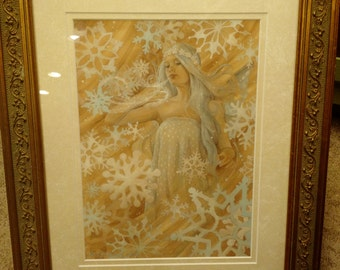 Snowflake Signed Print in an 11x14 Decorative Gold Frame