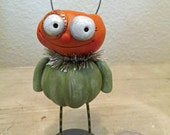 Halloween Pumpkin candy bucket style head folk art by Janell Berryman Pumpkinseeds