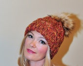 Pom Pom Hat Ski Women Hat Cabled Hat Raccoon Fur Pom Pom Christmas Gift under 100