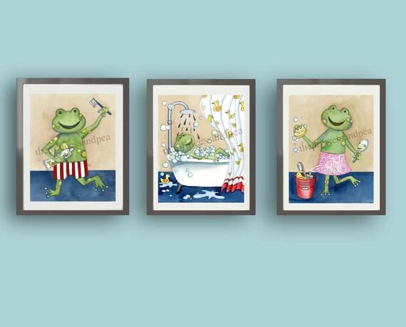 Frog art frog bathroom art frog wall art decor kids for Frog bathroom ideas