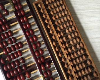 vintage handmade wooden brown abacus counter / counting numbers