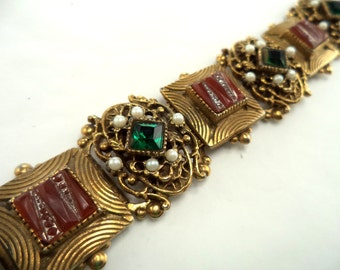 Ornate Bracelet Pearls with Molded Glass on Goldtone Statement Piece