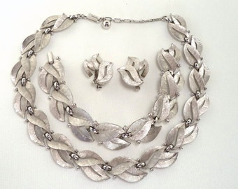 Crown Trifari Brushed Silver Necklace, Bracelet and Earring Set Signed