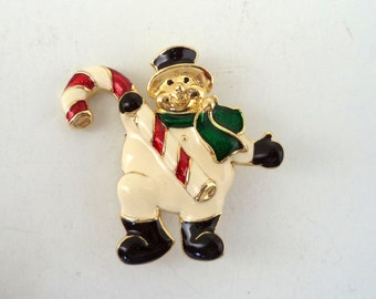 Christmas Snowman Candy Cane Brooch Signed SFJ