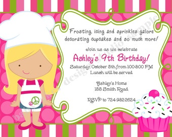 Cake Decorating Birthday Party Invitations : Items similar to Cake Shop Invitation - Girls Birthday ...