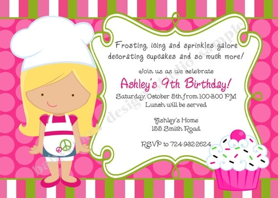 cupcake invitation cupcake decorating party cupcake birthday - Cupcake Decorating Party