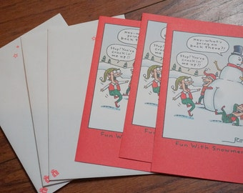 Three Unused Hallmark Shoebox Holiday Greeting Cards Snowman Humorous Funny
