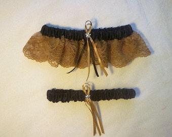 Black Satin / Gold Lace - 2 Piece Wedding Garter Set - 1 To Keep / 1 To Throw
