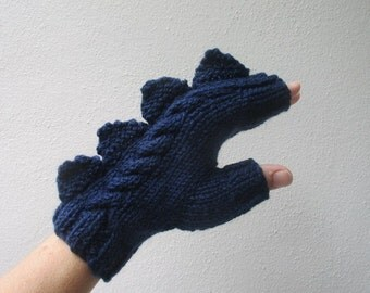 Dragon, dinosaur, monster dark blue fingerless mittens, pure wool