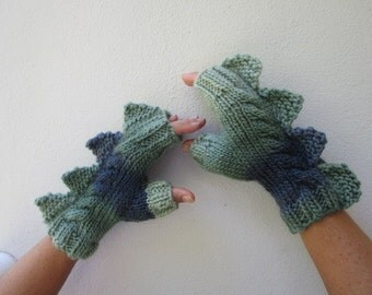 Dragon,dinosaur,monster, crocodile, fingerless mittens gloves, handmade,cozy pure wool, medium female adult, green and slate