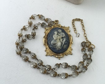 Courting Couple Pendant Wedgwood Style Blue Cameo Faceted Clear Glass Bead Reclaimed Vintage Jewelry Assemblage