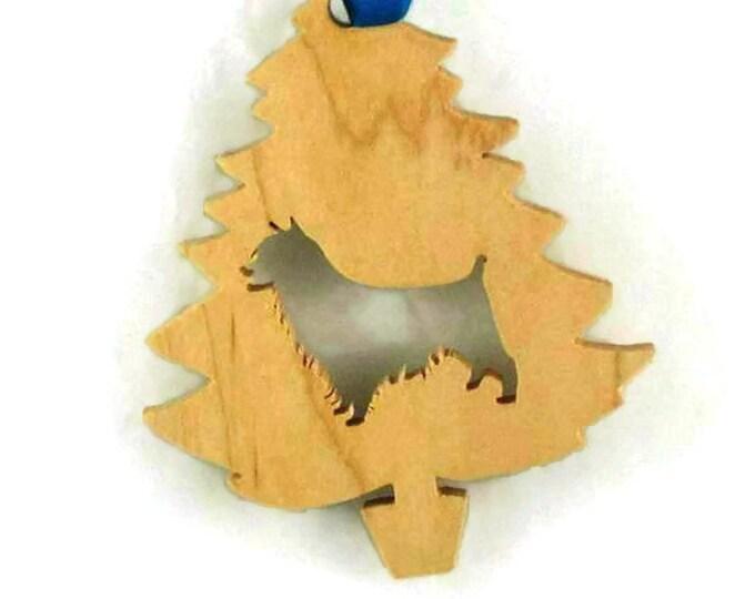 Australian Terrier Christmas Tree Ornament Handmade From Poplar Wood
