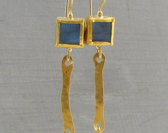 Labradorite Gold Earrings - 24k Gold Earrings with Labradorite -  Solid Gold Earrings