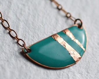 Art Deco Enamel Necklaces ... Geometric Turquoise Green Gold Copper