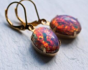 Pink Opal Earrings... Vintage Milky Glass Fire Stone Glow