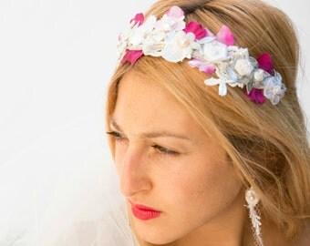 Hot pink floral crown, bridal hair wreath, boho flower crown, pink flower crown, bride flower crown, boho bridal headband,bohemian headpiece