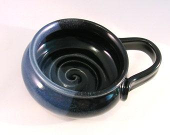 Shaving Mug - Handmade Pottery - Lather Bowl - Pottersong - Blue Shave Mug - Ridges for Good Lather - Comfort Shave - Denim Jeans Blue Black