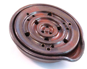 Soap Dish -  Drain Tray - One Piece Soap Saver  - Rustic Red - Kitchen or Bath - Handmade Pottery - Pottersong Pottery - Rustic Rust Red