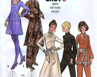 Butterick 5993 Vintage 70s Sewing Pattern for Misses' Dress and Pants - Uncut - Size 8 - Bust 31.5