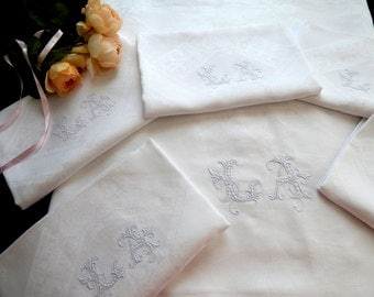 18 French Antique Damask Napkins with Matching Banquet-sized Tablecloth Finely Embroidered Initials