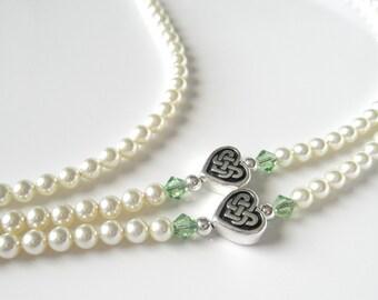 Essential Cream Swarovski Pearl Eyeglass Lanyard Necklace Glasses Holder w/ Celtic Hearts, Celtic Heart Glasses Chain Irish Glasses Necklace