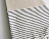 SALE 30 OFF/ Turkish Beach Bath Towel / Classic Peshtemal / Gray Beige / Wedding Gift, Spa, Swim, Pool Towels and Pareo