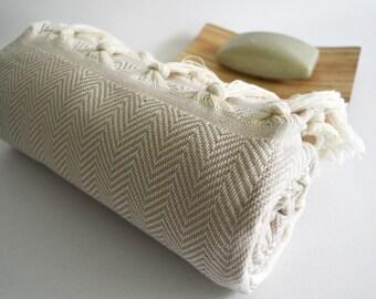 BathStyle / Herringbone Bathstyle Turkish BATH Towel - Beige Color - Beach, Spa, Swim, Pool Towels and Pareo