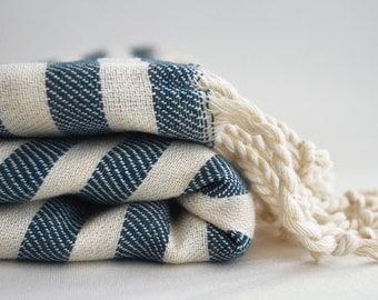 SALE 50 OFF/ BathStyle / Petrol Blue Striped / Turkish Beach Bath Towel / Wedding Gift, Spa, Swim, Pool Towels and Pareo
