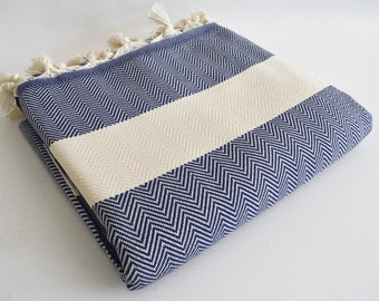 SALE 50 OFF/ Herringbone Blanket / Navy Blue / Bedcover, Beach blanket, Sofa throw, Traditional, Tablecloth, Twin blankets