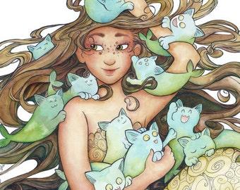 Mer Kittens- 8.5x 11 Illustration Print