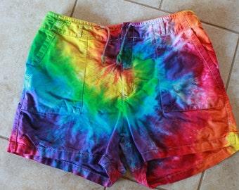 Tie dye shorts upcycled