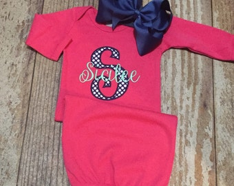 Baby girl coming home outfit, personalized gown, monogrammed gown and bow, appliqué, baby shower gift, newborn photo outfit