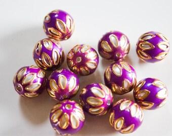 SALE  Vibrant Purple floral spheres - Floral Cloisonné Meena beads (2) 12mm
