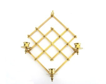 Vintage Brass Wall Sconce Candle Holder Candleholder Trellis Candelabra Expanding Accordion Scissor Adjustable Diamond Wall Metal Decor