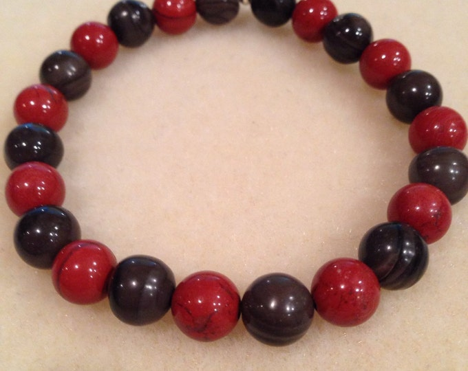 Red Brecciated Jasper & Coffee Jasper 8mm Round Bead Bracelet with Sterling Silver Accent