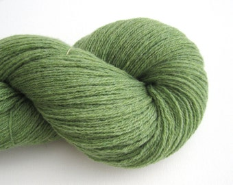 Recycled Lambs' Wool Yarn in Asparagus Green, Sport Weight