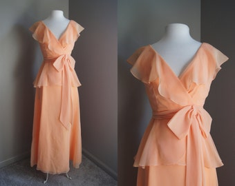 Vintage NEIMAN MARCUS Peach Gown Peach Dress Small Dress Small Gown Bridesmaid Dress Peach Bridesmaid Apricot Dress Mother of the Bride