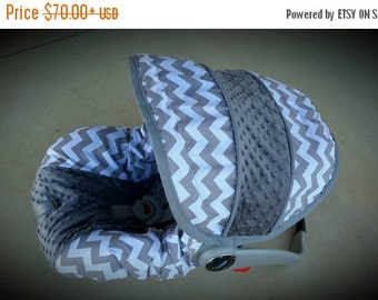 Fall SALE Grey and White Chevron with Charcoal grey Minky - Custom order