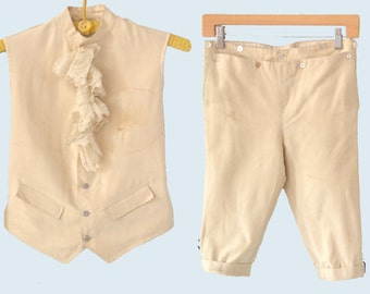 1900s Child's White Tuxedo Short Pant