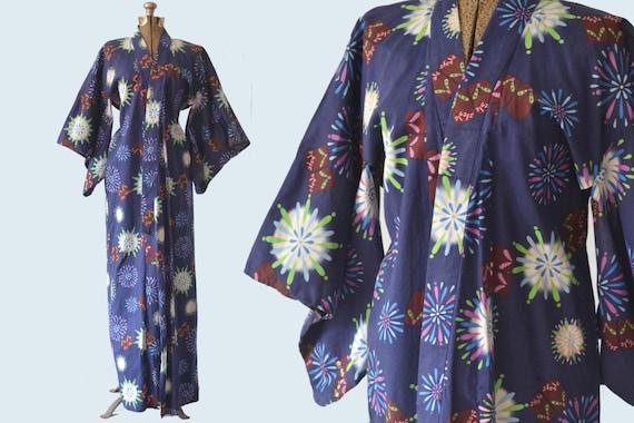 Firework Print Japanese Kimono One Size