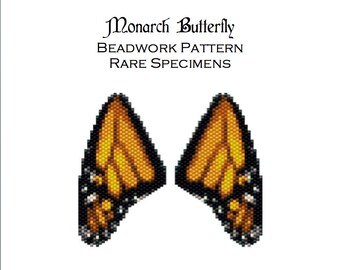 Monarch Butterfly Wing Earring Freeform Peyote Stitch Beading Pattern - PDF