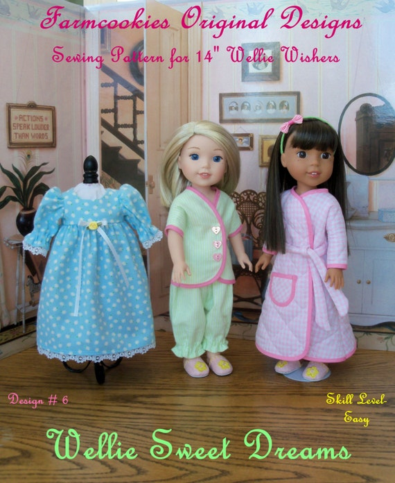 """XL PDF Sewing Pattern: Wellie Sweet Dreams/ Sewing Pattern Fit 14"""" American Girl®  Wellie Wishers® / Fits Like American Girl Doll Clothes"""