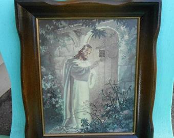 Mid Century Christ at Heart's Door - Wood Framed Lithograph - 1942 Kriebel & Bates