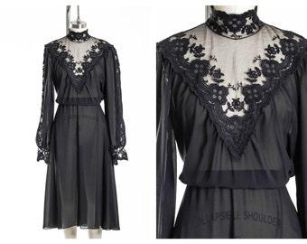 Vtg Victorian Lace Dress Size 8
