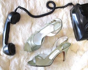 WELL HEELED VIntage 50s Shoes | 1950's Olive Peep Toe Sling Backs Leather Stiletto High Heels by Mr. Kimel Rockabilly, VLV | Sz 7.5 - 8