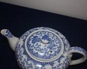 SALE Phoenix Bird Flying Turkey Blue & White Teapot with Blue M Wreath, Japan