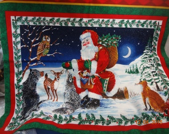 2 Christmas Fabric Panels Santa Clause and Forest Friends by Timeless Treasures Quilting