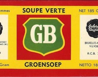 Grand Bazar Soupe Verte Groensoep Vintage Belgium Can Label, C1980s