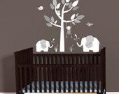 Mini Decal Sticker, Jungle Animal Decals, Elephants Wall Decal, Monkey wall decal, Gray Chevron Theme, polka dots nursery decor, White Tree